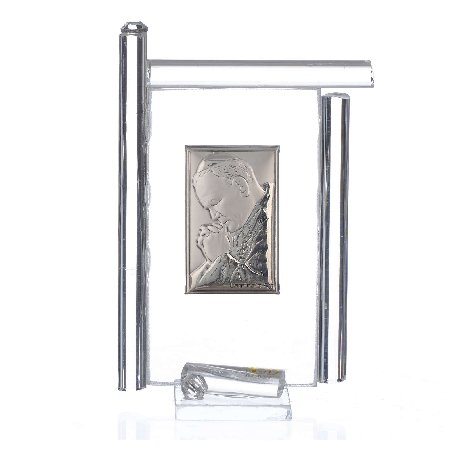 Quadro Papa G. Paolo II Argento e vetro Murano Bianco h.9 3