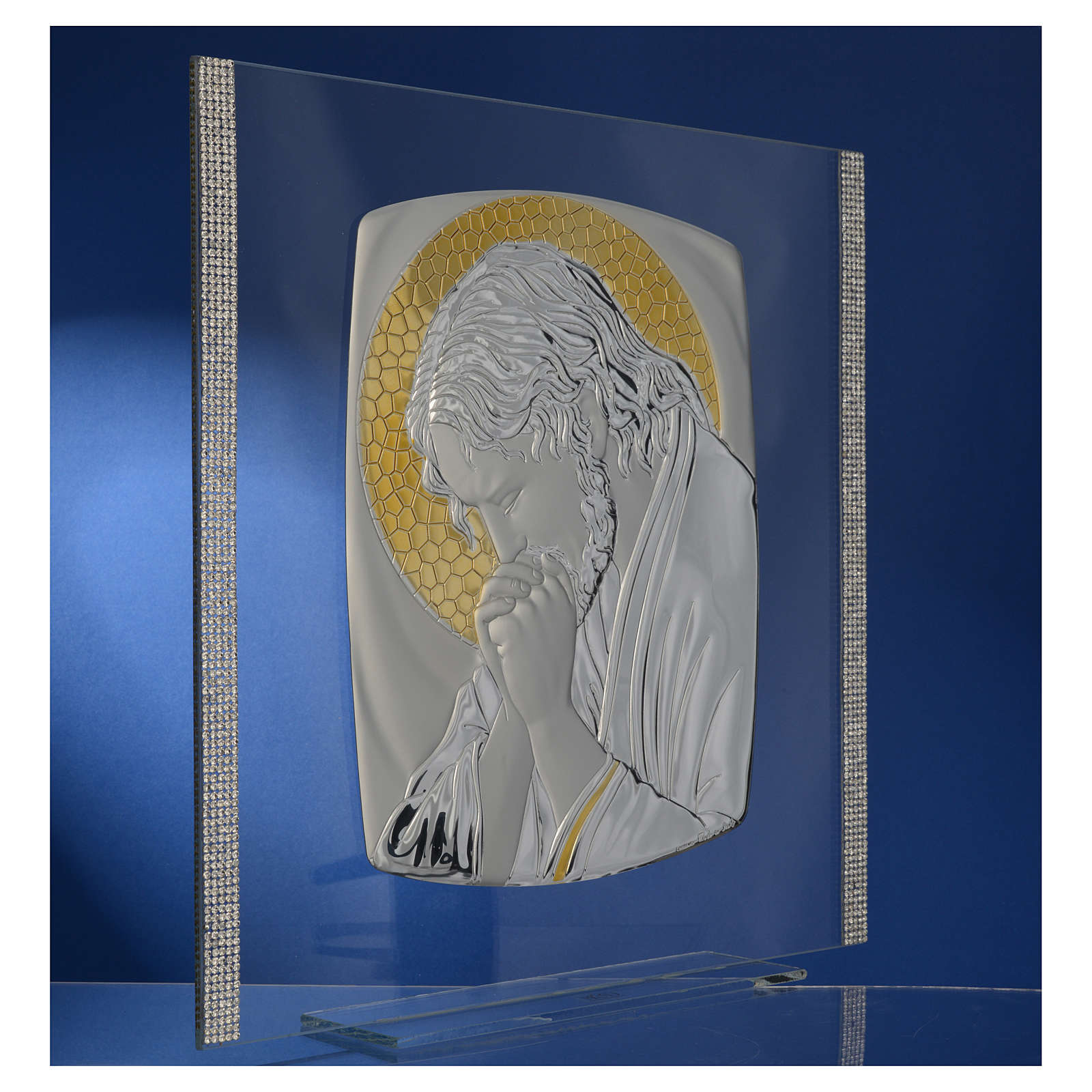 Quadro Cristo Argento e strass 32x32 cm 3