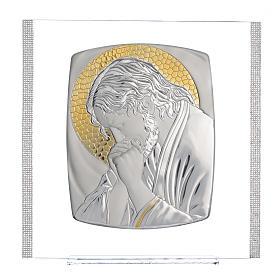 Quadro Cristo Argento e strass 32x32 cm s5