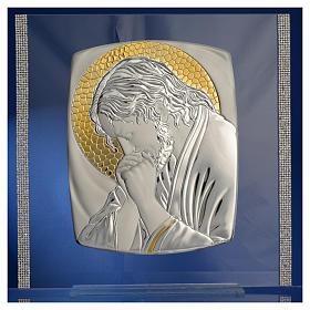 Quadro Cristo Argento e strass 32x32 cm s6