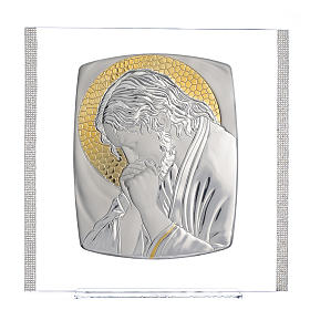 Quadro Cristo Argento e strass 32x32 cm s1