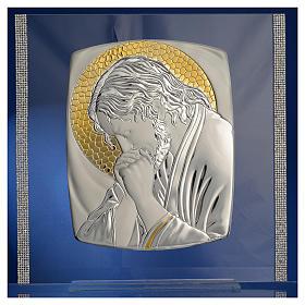 Quadro Cristo Argento e strass 32x32 cm s2
