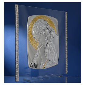Quadro Cristo Argento e strass 32x32 cm s3