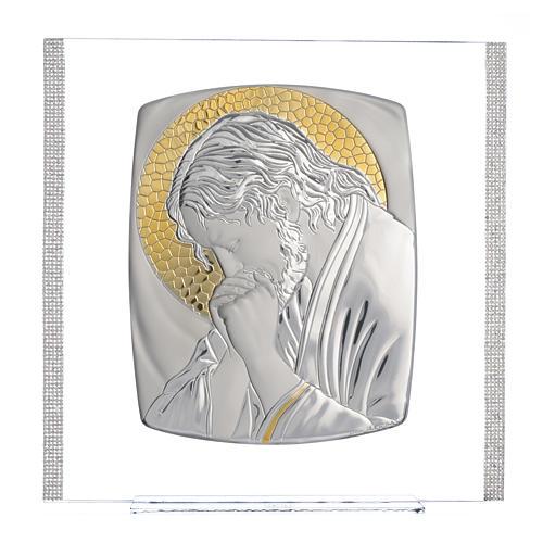 Quadro Cristo Argento e strass 32x32 cm 5