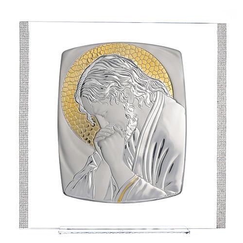 Quadro Cristo Argento e strass 32x32 cm 1