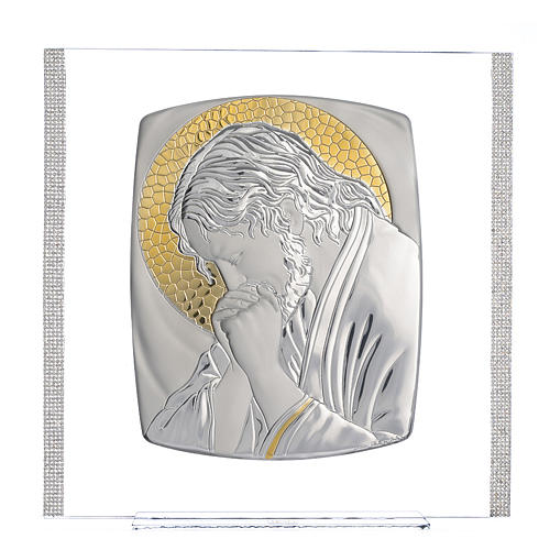 Painting Christ silver and rhinestones 32x32cm 1