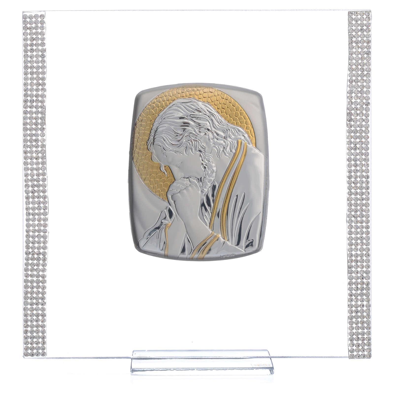 Quadro Cristo Argento e strass 17,5x17,5 cm 3