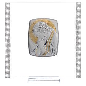 Quadro Cristo Argento e strass 17,5x17,5 cm s5