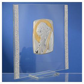 Quadro Cristo Argento e strass 17,5x17,5 cm s7
