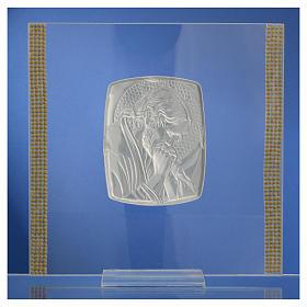 Quadro Cristo Argento e strass 17,5x17,5 cm s8