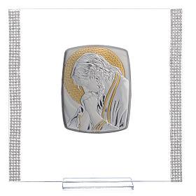 Quadro Cristo Argento e strass 17,5x17,5 cm s1