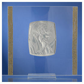 Quadro Cristo Argento e strass 17,5x17,5 cm s4