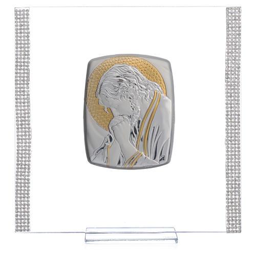 Quadro Cristo Argento e strass 17,5x17,5 cm 5