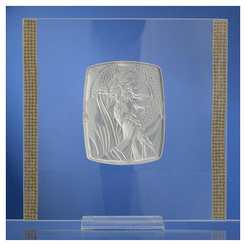 Quadro Cristo Argento e strass 17,5x17,5 cm 8