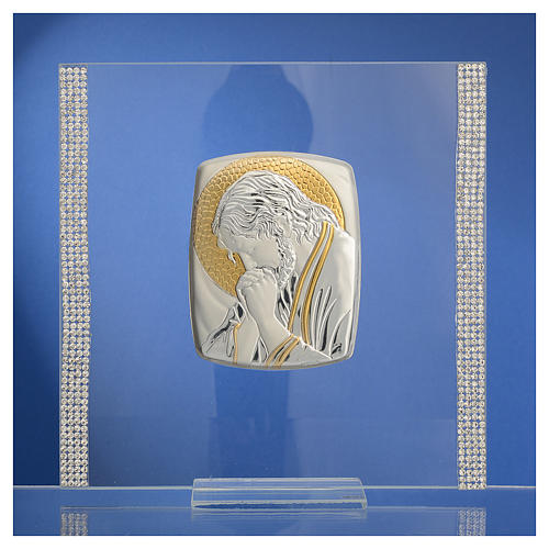 Quadro Cristo Argento e strass 17,5x17,5 cm 2