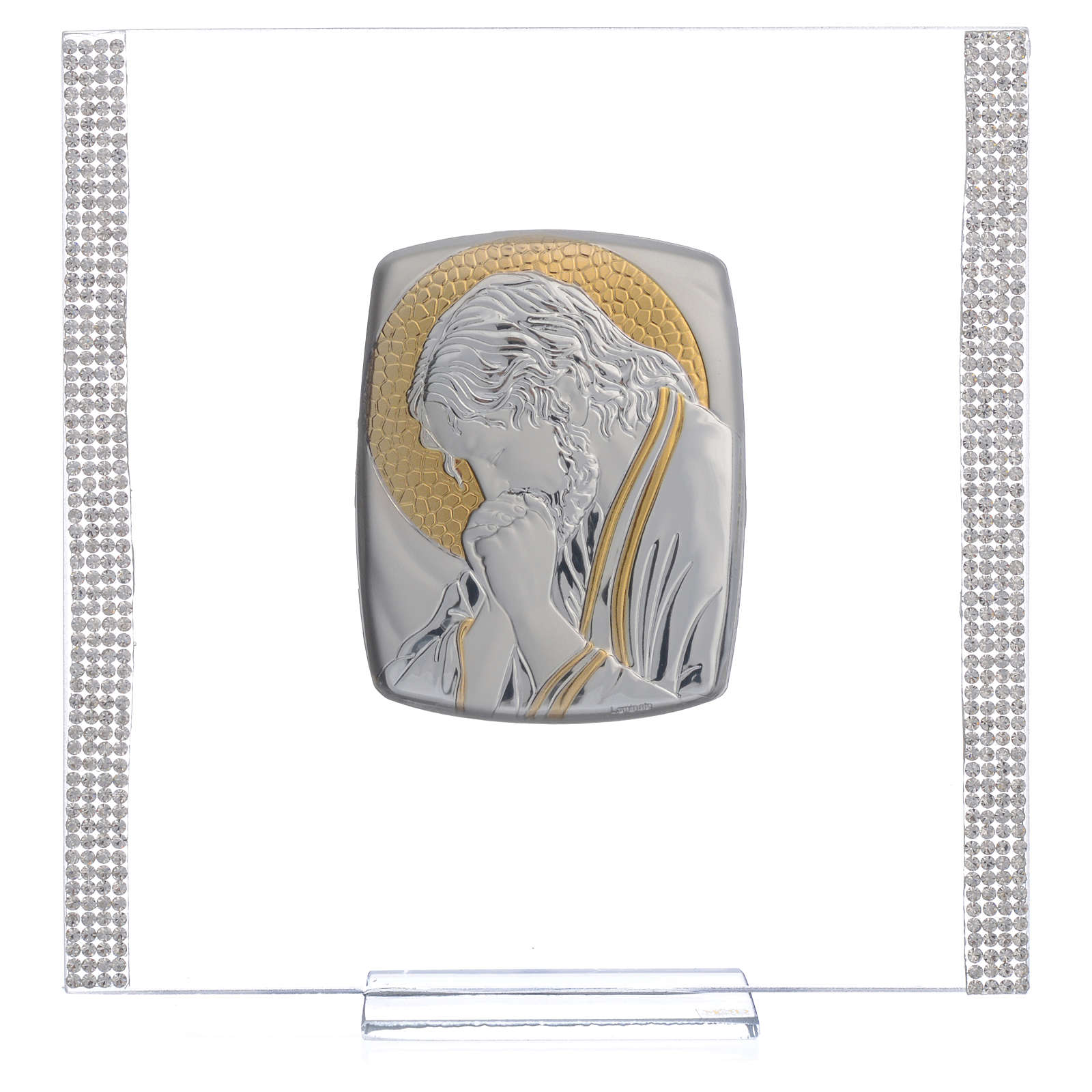 Favour with image of Christ in silver and rhinestones 17.5x17.5cm 3