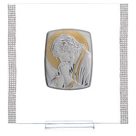 Favour with image of Christ in silver and rhinestones 17.5x17.5cm s5