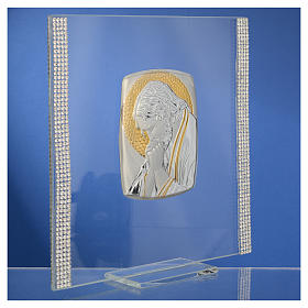 Favour with image of Christ in silver and rhinestones 17.5x17.5cm s7