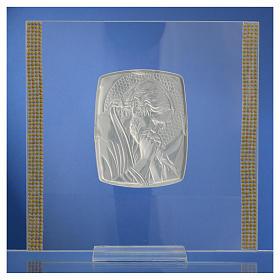 Favour with image of Christ in silver and rhinestones 17.5x17.5cm s8