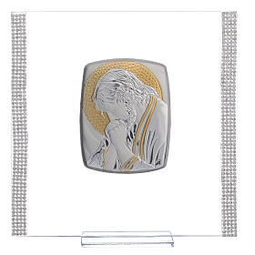 Favour with image of Christ in silver and rhinestones 17.5x17.5cm s1