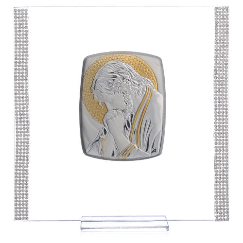Favour with image of Christ in silver and rhinestones 17.5x17.5cm 5