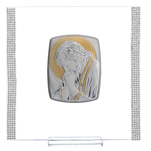 Favour with image of Christ in silver and rhinestones 17.5x17.5cm 1
