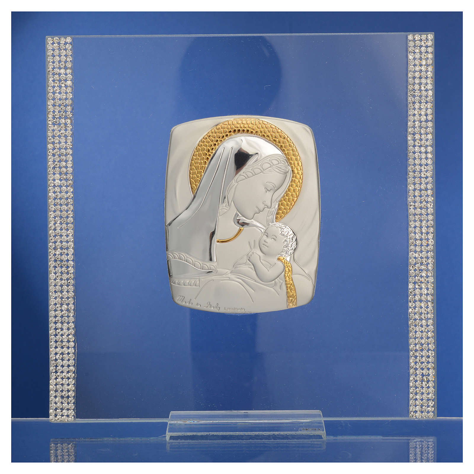 Cadre Baptême Argent et strass maternité 17,5x17,5 cm 3