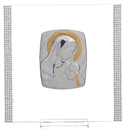 Cadre Baptême Argent et strass maternité 17,5x17,5 cm s6
