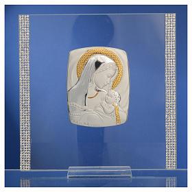 Cadre Baptême Argent et strass maternité 17,5x17,5 cm s7