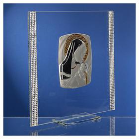 Cadre Baptême Argent et strass maternité 17,5x17,5 cm s8