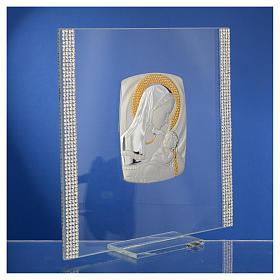 Cadre Baptême Argent et strass maternité 17,5x17,5 cm s9
