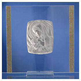 Cadre Baptême Argent et strass maternité 17,5x17,5 cm s10