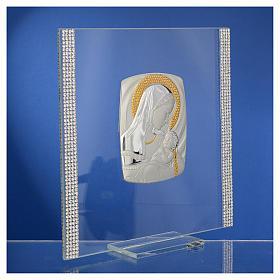 Cadre Baptême Argent et strass maternité 17,5x17,5 cm s4