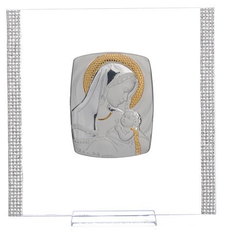 Cadre Baptême Argent et strass maternité 17,5x17,5 cm 6