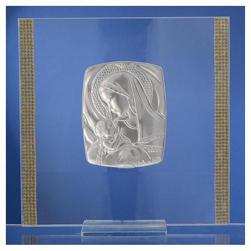 Cadre Baptême Argent et strass maternité 17,5x17,5 cm 5