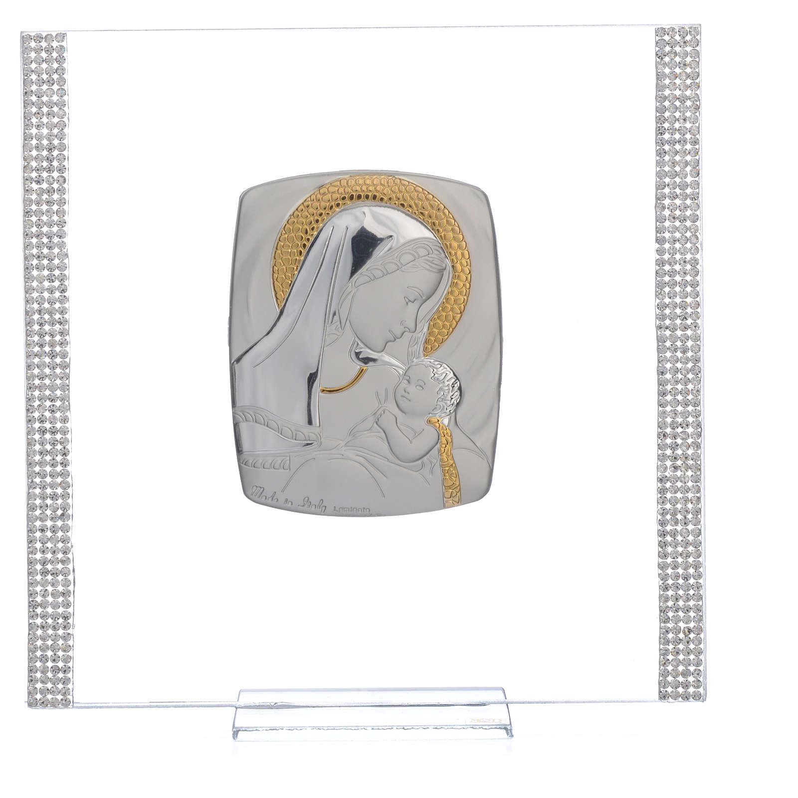 Quadro Battesimo Arg. e strass Maternità 17,5x17,5 cm 3