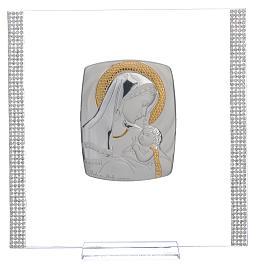 Quadro Battesimo Arg. e strass Maternità 17,5x17,5 cm s6