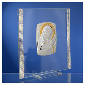 Quadro Battesimo Arg. e strass Maternità 17,5x17,5 cm s9