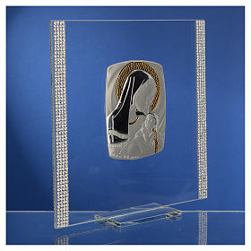 Quadro Battesimo Arg. e strass Maternità 17,5x17,5 cm s3