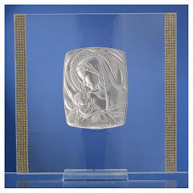 Quadro Battesimo Arg. e strass Maternità 17,5x17,5 cm s5