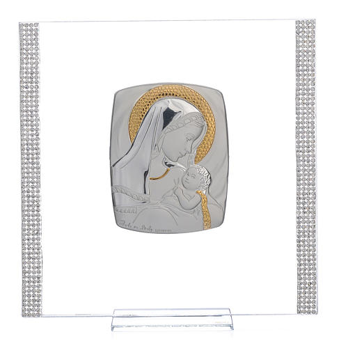 Quadro Battesimo Arg. e strass Maternità 17,5x17,5 cm 1