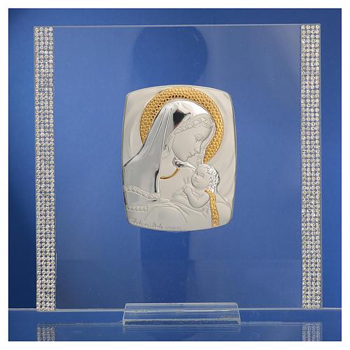 Quadro Battesimo Arg. e strass Maternità 17,5x17,5 cm 2