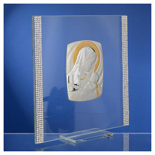 Quadro Battesimo Arg. e strass Maternità 17,5x17,5 cm 4