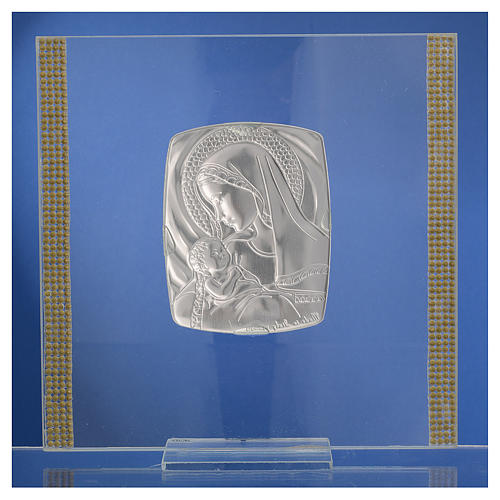 Quadro Battesimo Arg. e strass Maternità 17,5x17,5 cm 5