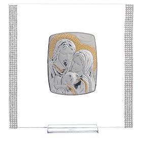 Cadre Mariage Ste Famille Argent et strass 17,5x17,5 cm s5