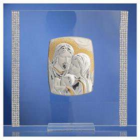 Cadre Mariage Ste Famille Argent et strass 17,5x17,5 cm s6