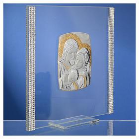 Cadre Mariage Ste Famille Argent et strass 17,5x17,5 cm s7