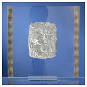 Cadre Mariage Ste Famille Argent et strass 17,5x17,5 cm s8