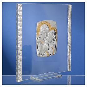 Cadre Mariage Ste Famille Argent et strass 17,5x17,5 cm s3