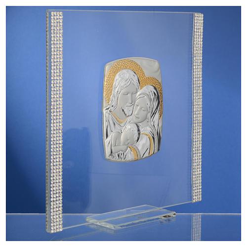 Cadre Mariage Ste Famille Argent et strass 17,5x17,5 cm 7